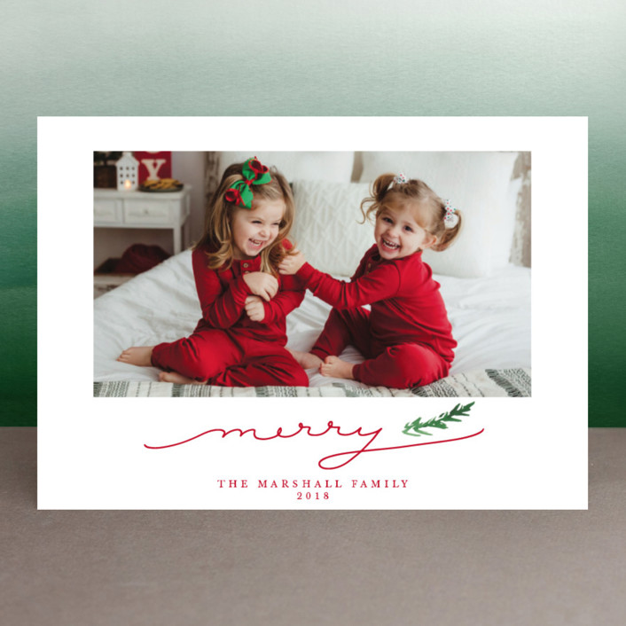 """Merry Branch"" - Holiday Photo Cards in Poinsetta by Paula Pecevich."