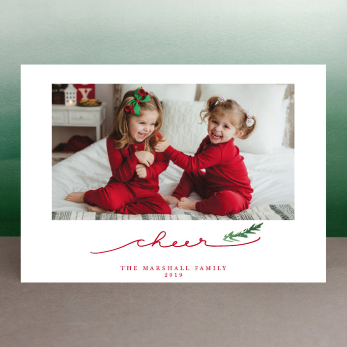 """""""Merry Branch"""" - Holiday Photo Cards in Poinsetta by Paula Pecevich."""