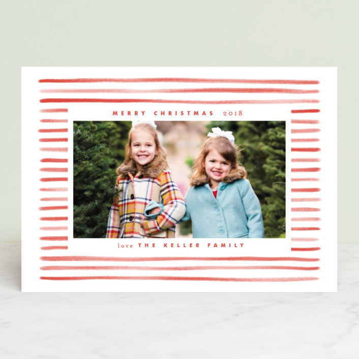 """Candy Stripe"" - Holiday Photo Cards in Candy Red by Leah Bisch."