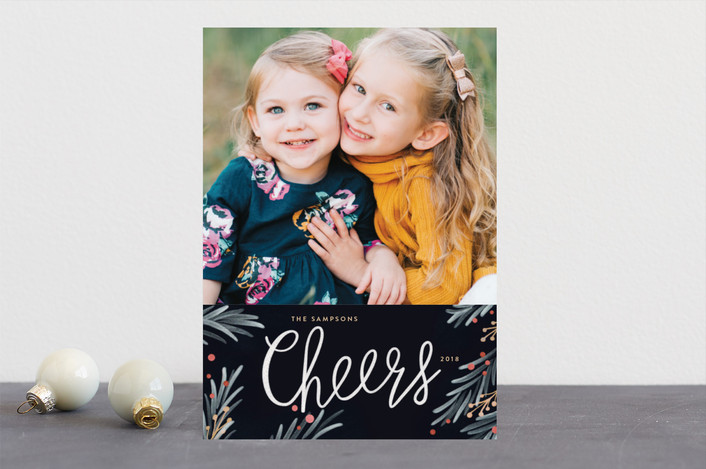 """Painted Pine"" - Holiday Photo Cards in Navy by Kelly Nasuta."