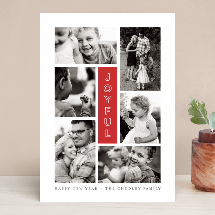 """""""Joyful Six"""" - Modern Holiday Photo Cards in Cranberry by Up Up Creative."""