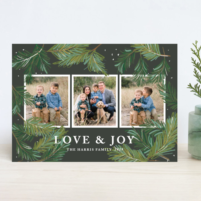 """Winter Pine"" - Holiday Photo Cards in Charcoal by Rebecca Durflinger."
