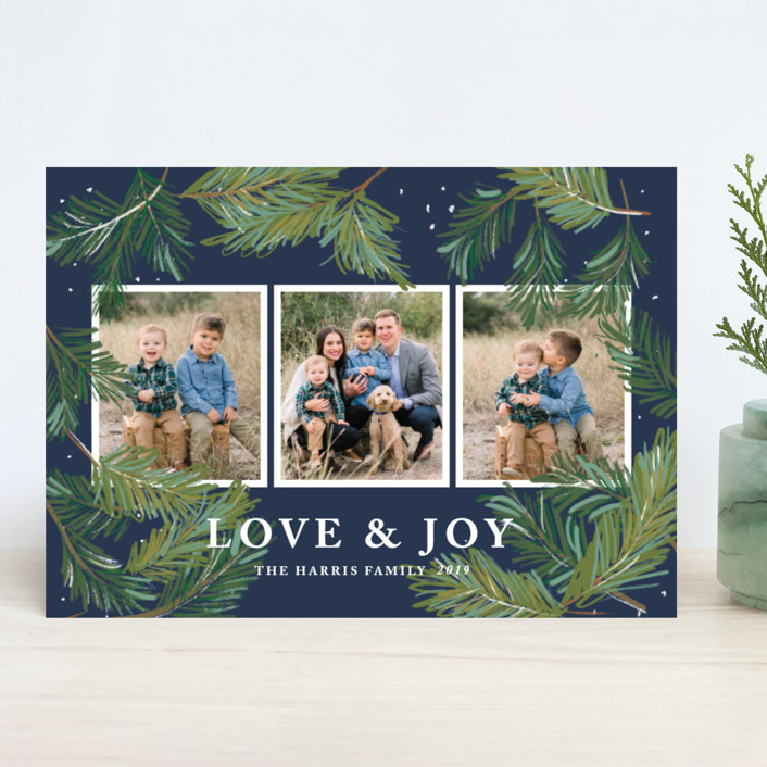 """""""Winter Pine"""" - Holiday Photo Cards in Charcoal by Rebecca Durflinger."""