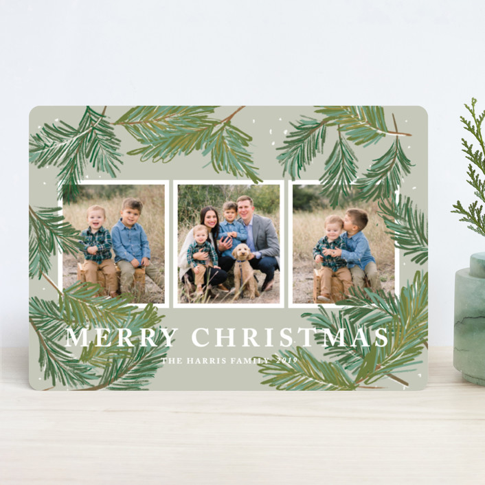 """""""Winter Pine"""" - Holiday Photo Cards in Fern by Rebecca Durflinger."""