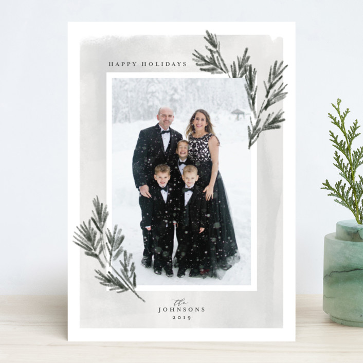 """classic pine"" - Holiday Photo Cards in Cloudy by Rebecca Durflinger."