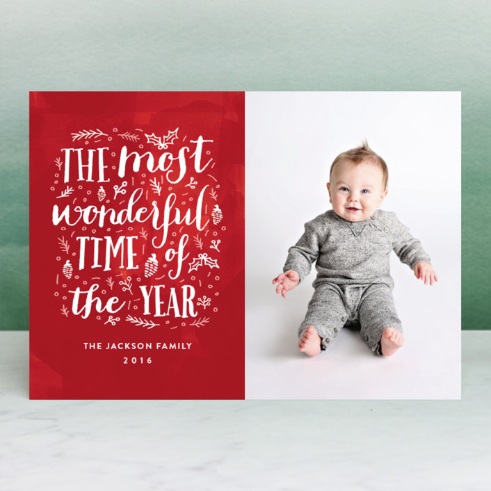 """The Most Wonderful Time of the Year"" - Holiday Photo Cards in Cherry by iamtanya."
