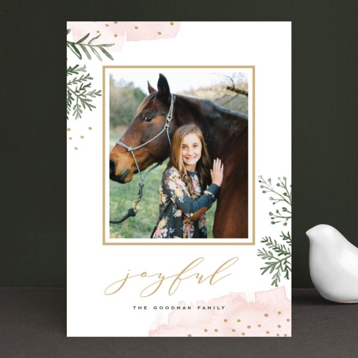 """Watercolor Winter"" - Editor's Picks Holiday Photo Cards in Soft Pink by Oscar & Emma."