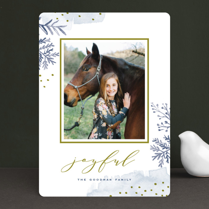 """Watercolor Winter"" - Editor's Picks Holiday Photo Cards in Frost by Oscar & Emma."