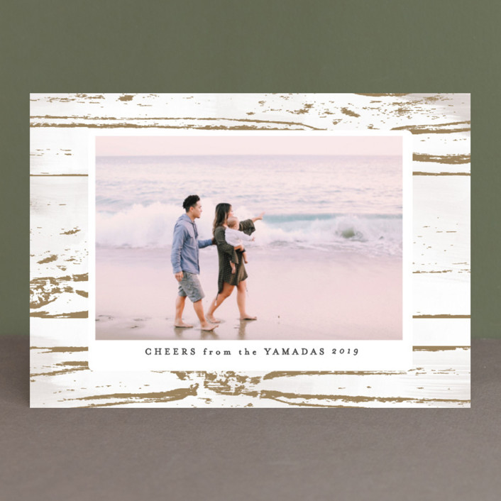 """Gilded Woodgrain"" - Bohemian Holiday Photo Cards in Straw by Melanie Severin."