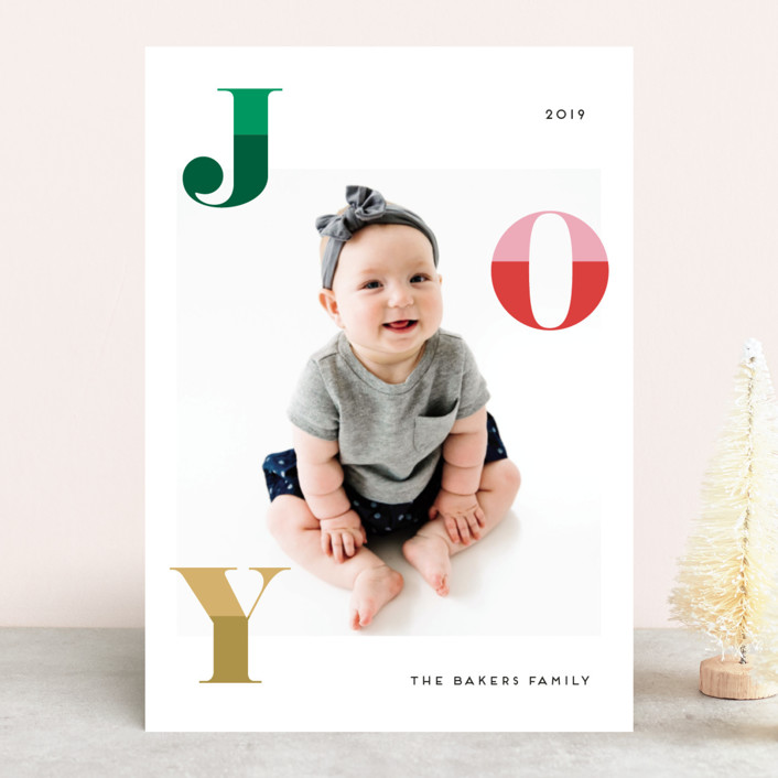 """""""Two Toned Joy"""" - Holiday Photo Cards in Christmas Tree by Little Print Design."""