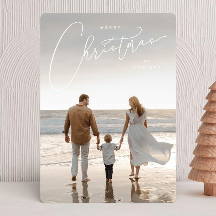 """""""Vintage Elegance"""" - Vintage Holiday Photo Cards in Snow by Kristie Kern."""