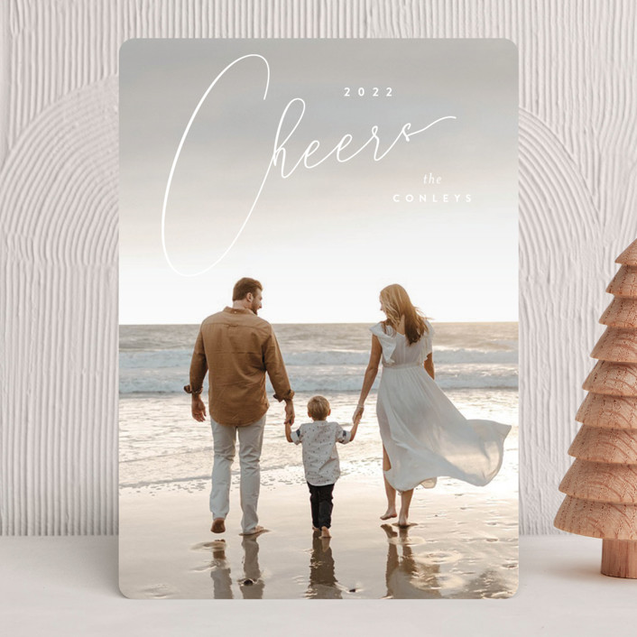 """Vintage Elegance"" - Holiday Photo Cards in Golden by Kristie Kern."