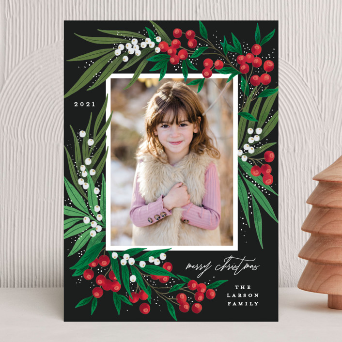 """""""Leafy Berries"""" - Holiday Photo Cards in Charcoal by Alethea and Ruth."""