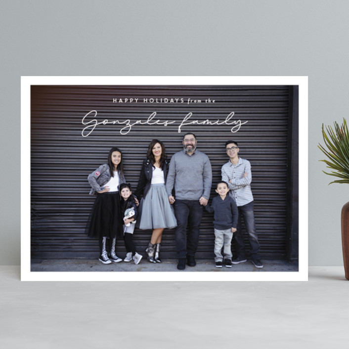 """holiday signature"" - Holiday Photo Cards in Linen by Kasia Labocki."
