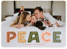 This is a orange holiday photo card by GeekInk Design called Peaceful Words with standard printing on signature in standard.