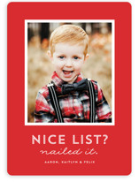 This is a red holiday photo card by Lea Delaveris called Nice List with standard printing on smooth signature in standard.