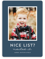 This is a blue holiday photo card by Lea Delaveris called Nice List with standard printing on smooth signature in standard.