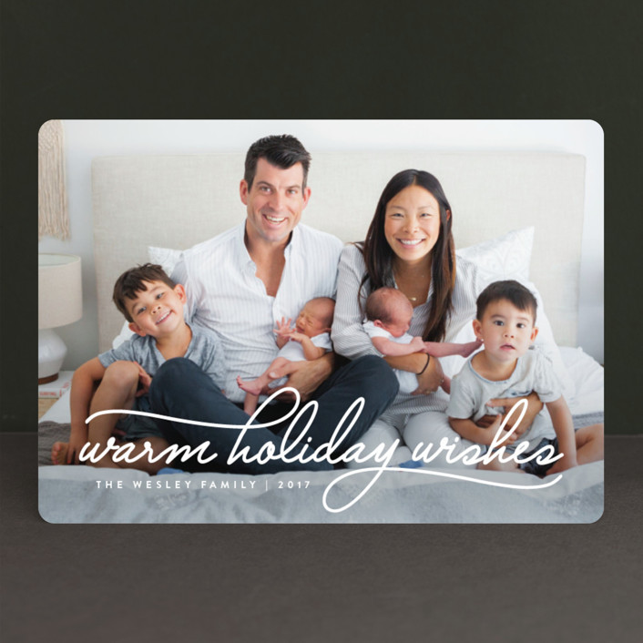 """""""Warm Holiday Wishes"""" - Holiday Photo Cards in Icing by Design Lotus."""