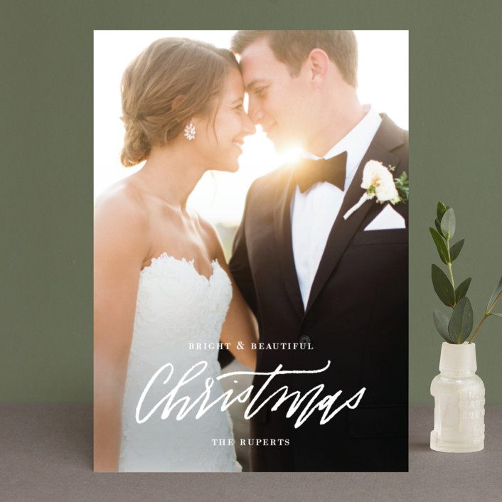"""Newlywed Glam"" - Holiday Photo Cards in Snow by Cheer Up Press."