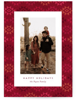 This is a red holiday photo card by Amy Payne called Southwestern Frame with standard printing on smooth signature in standard.