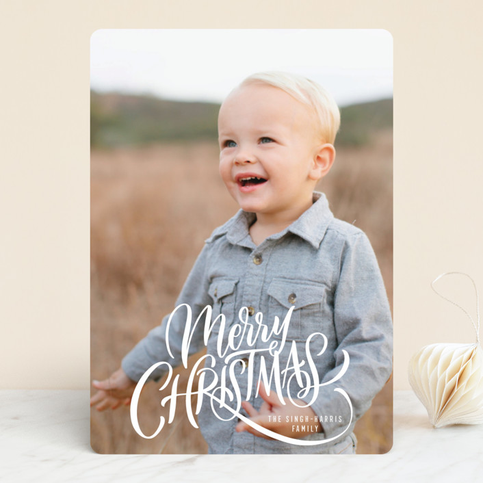 """Entwined"" - Holiday Photo Cards in Ivory by Laura Bolter Design."