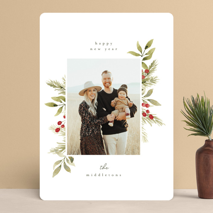 """""""floral cheer"""" - Holiday Photo Cards in Wreath by Angela Garrick."""