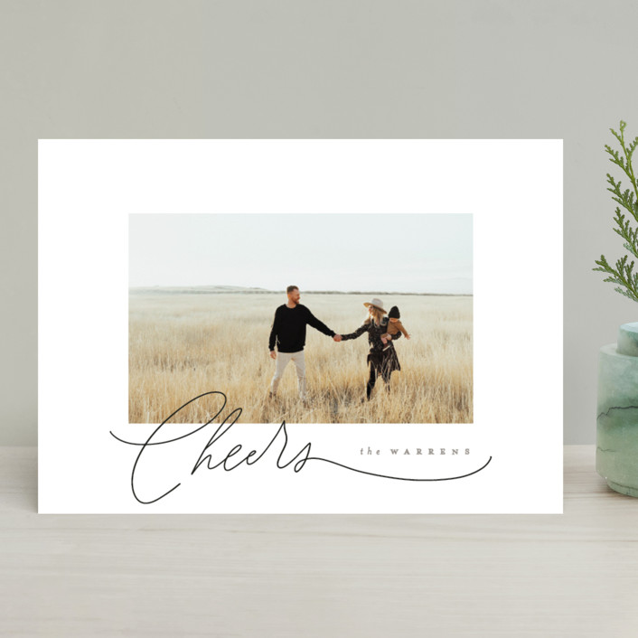 """""""Gentle Script"""" - Holiday Photo Cards in Snow by Everett Paper Goods."""