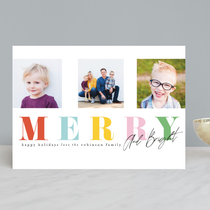 """""""Merry Trifecta"""" - Holiday Photo Cards in Gumdrop by Ashlee Townsend."""