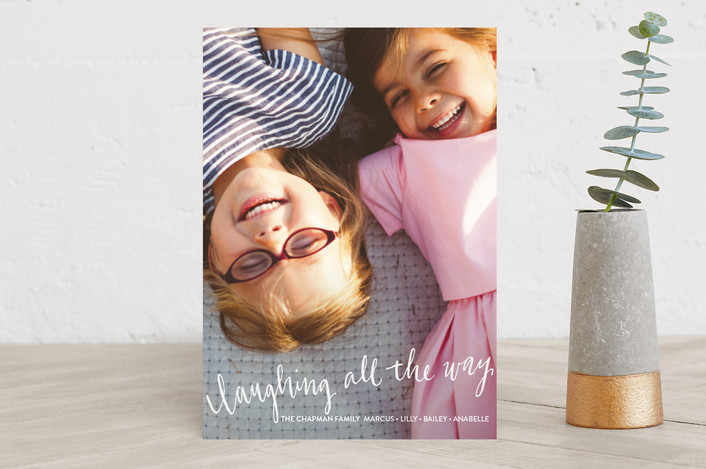 """Laughing All the Way"" - Holiday Photo Cards in Frost by Rebecca Daublin."