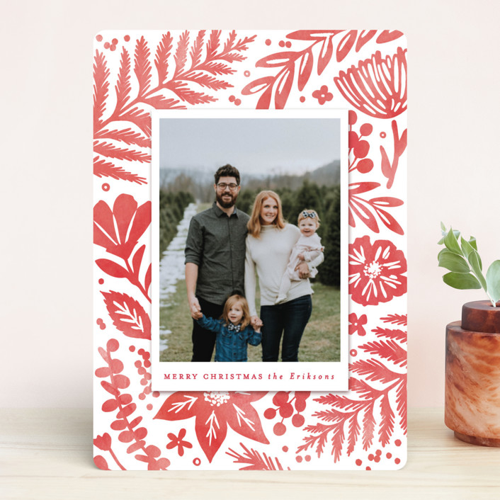 """Festive Watercolor Florals"" - Holiday Photo Cards in Red Berry by Hooray Creative."