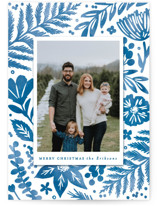This is a blue holiday photo card by Hooray Creative called Festive Watercolor Florals with standard printing on smooth signature in standard.