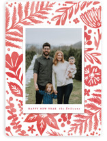 This is a red holiday photo card by Hooray Creative called Festive Watercolor Florals with standard printing on smooth signature in standard.