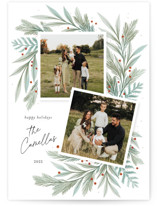 This is a green holiday photo card by Paper Raven Co. called Holiday Duo with standard printing on pearlescent in standard.