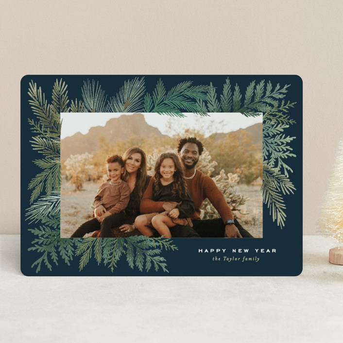 """""""Evergreen Variety"""" - Holiday Photo Cards in Teal by Alethea and Ruth."""