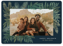 This is a blue holiday photo card by Alethea and Ruth called Evergreen Variety with standard printing on smooth signature in standard.