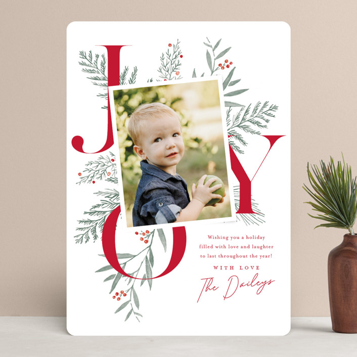 """Joy Greenery"" - Holiday Photo Cards in Candy Cane by Oscar & Emma."