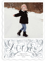 This is a blue holiday photo card by Erin German Design called Let it Snow with standard printing on smooth signature in standard.