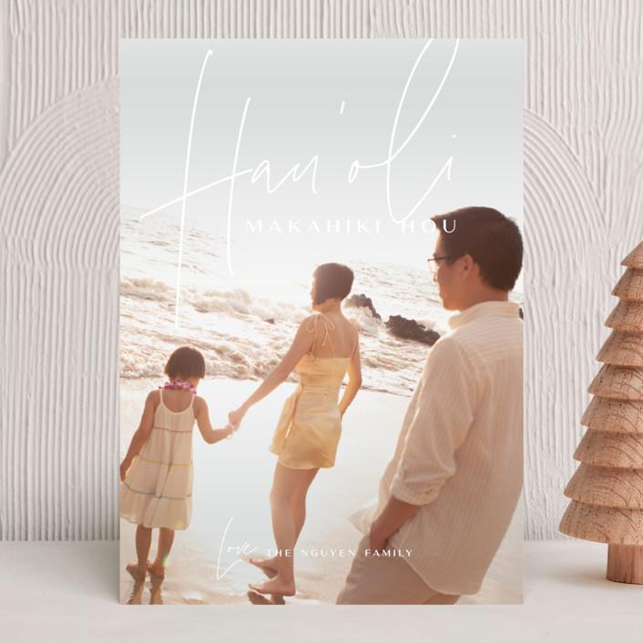 """Island Kalikimaka"" - Modern Holiday Photo Cards in Pikake by Guess What Design Studio."
