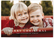 This is a white holiday photo card by Wildfield Paper Co. called The Merriest of Days with standard printing on smooth signature in standard.