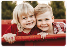 This is a red holiday photo card by Wildfield Paper Co called The Merriest of Days with standard printing on smooth signature in standard.