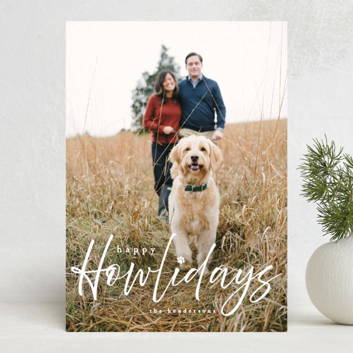 """Howliday"" - Funny Holiday Photo Cards in Bone by Vanessa Doyle."