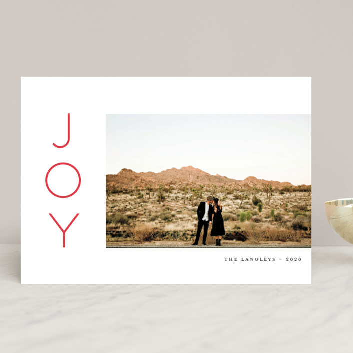 """""""Festive Joys"""" - Holiday Photo Cards in Candy Cane by Little Print Design."""