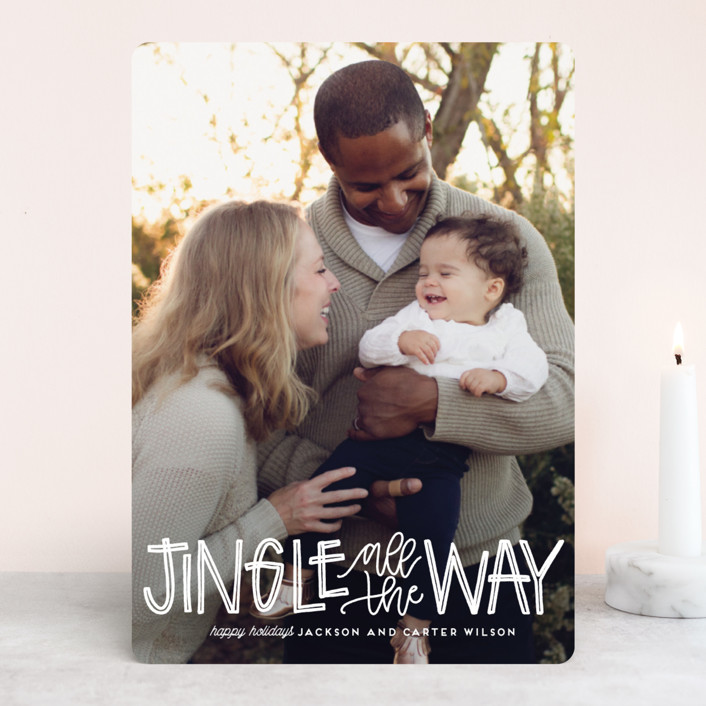 """""""Jingle"""" - Funny Holiday Photo Cards in Snow by Leah Bisch."""