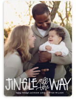 This is a white holiday photo card by Leah Bisch called Jingle with standard printing on smooth signature in standard.