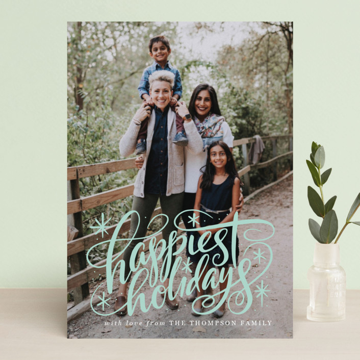 """Hand Lettered Happiest Holidays"" - Holiday Photo Cards in Winter by Jamie Schultz Designs."