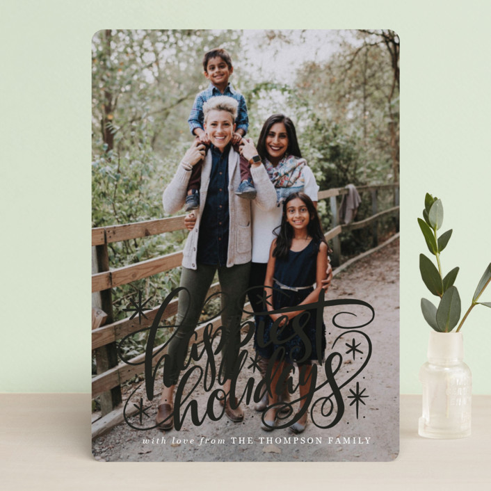 """""""Hand Lettered Happiest Holidays"""" - Holiday Photo Cards in Winter by Jamie Schultz Designs."""