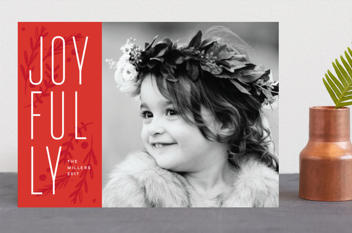 """So Joyfully"" - Modern Holiday Photo Cards in Poinsettia by Ellis."