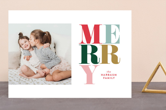 """Pirouette"" - Holiday Photo Cards in Berry by Carrie ONeal."