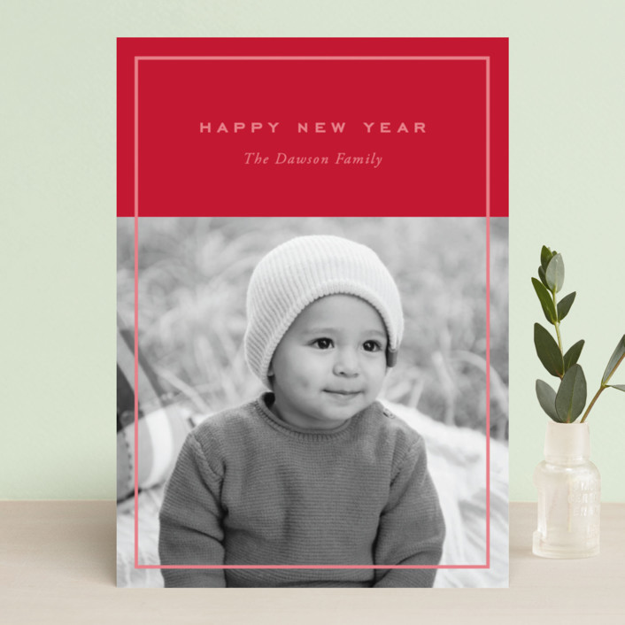 """Clean and Simple"" - Holiday Photo Cards in Candy Cane by Oscar & Emma."