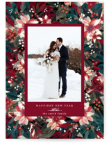 This is a red holiday photo card by Phrosne Ras called Abundant Floral with standard printing on smooth signature in standard.